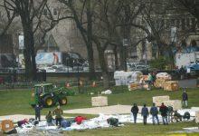 Photo of مستشفى ميداني قيد الإنشاء في حديقة سنترال بارك في نيويورك