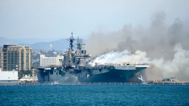 Photo of انفجار أعقبه حريق هائل على متن سفينة عسكرية في كاليفورنيا واصابة 21 شخصاً